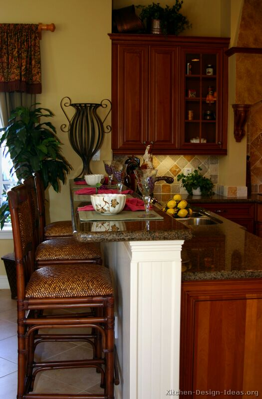 These Traditional Golden Brown Bar Stools Are A Good Match For Tuscan Kitchen